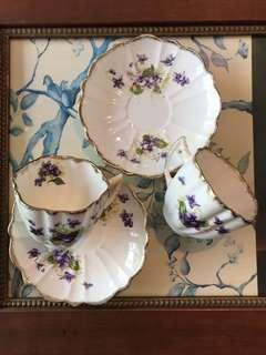 Majestic Violets on Victorian Styled Bone China