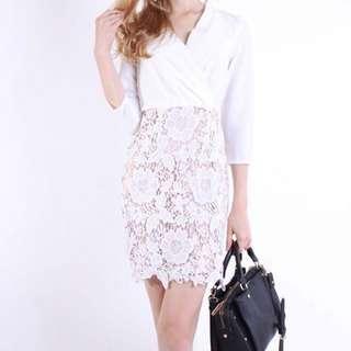White Wrap Nude Lace Dress