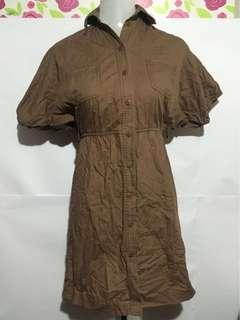 Karimadon Brown Puff Sleeves Shirt Dress