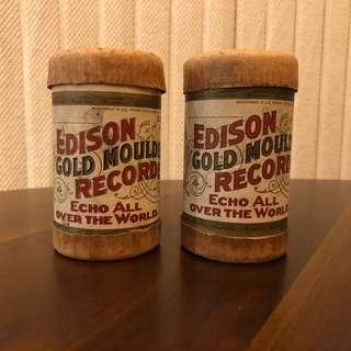 Edison Gold Moulded Records Cylinders Echo All Over The World