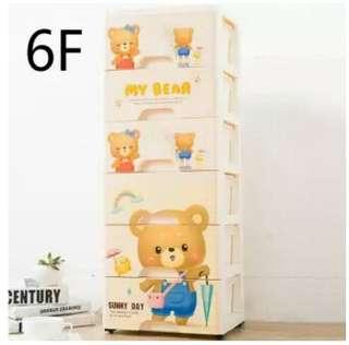 Drawer type plastic toy box drawer drawer cartoon bear tidy the bedside cupboard