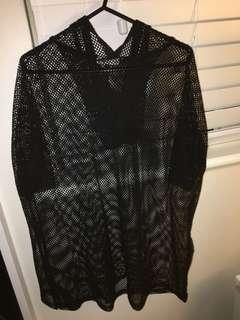 BLACK HOODED MESH SHIRT