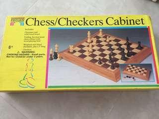 Wooden Chess & Checkers Set