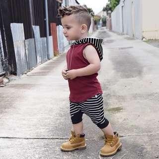 🚚 Baby Boy Toddler 2 pc Hooded Vest + Striped Harem Pants