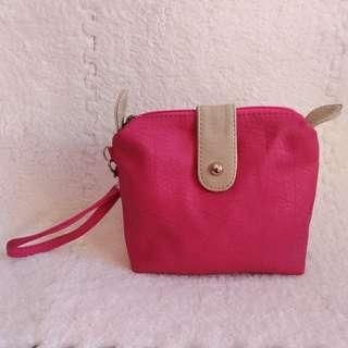 GRENDHA Faux Leather Pink Pouch