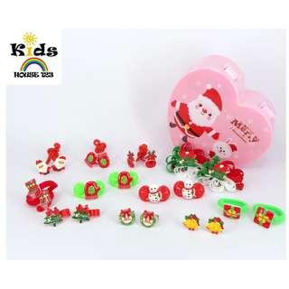🚚 SURPRISE GIFT INCLUDED 22-pcs Christmas Theme Hair Accessories Gift Set for Baby Kids Children Girl A005A