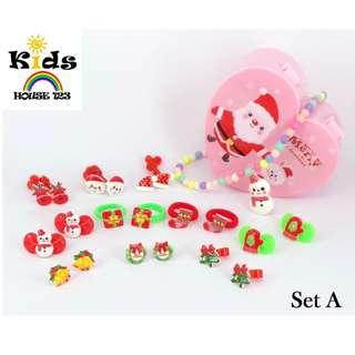 🚚 SURPRISE GIFT INCLUDED 21-pcs Christmas Theme Hair Accessories set/ Jewelry Gift Set for Baby Kids Children Girl A006