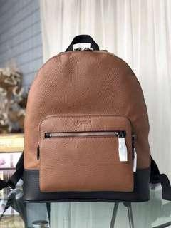 COACH 35429 新款男士後背包 容量大 素面全皮 雙隔層設計 可放筆電 附購證