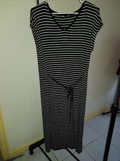 Womens Black and White Striped Summer Dress
