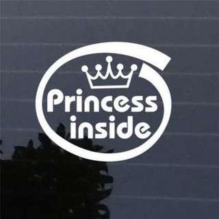 Princess Inside Car Sticker / Decal