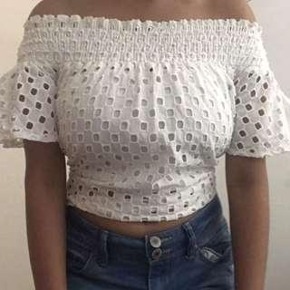 Glassons - Size 10 off the shoulder top (white)
