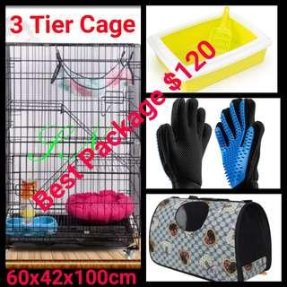 Cat Cage Set Package Special Kitten Rabbit Dog 3 Tier Pet Cage
