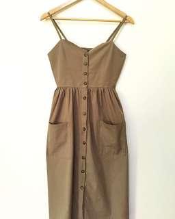 Structured button down maxi / midi dress