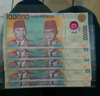 Uang 100000 lama koleksi asli BI