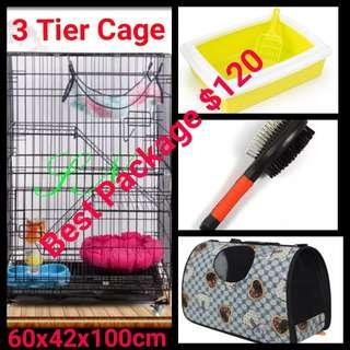 Cat Cage 3 Tier Pet Cage Collapsible Foldable Kitten Dog Rabbit Bird