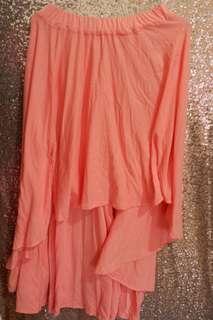 assymetris long skirt pink