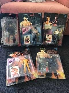 5 super rare vintage 1998 Bruce Lee action figures + postcard set