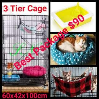 Cat cage 3 Tier Pet Cage Collapsible Foldable Kitten  Dog Rabbit Cage