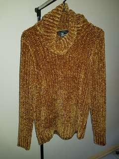 Golden Knitted Cowl Neck Sweater