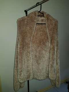 Biege Fur Jacket Cardigan