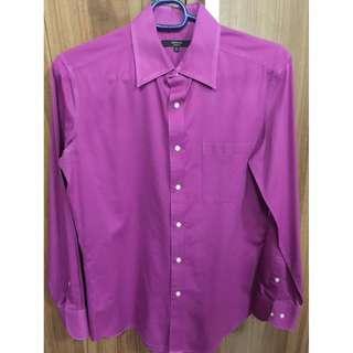 G2000 mens dark pink/fuschia regular fit long sleeves