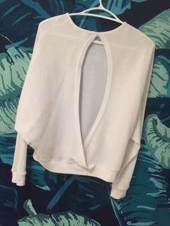 Open back white light sweater