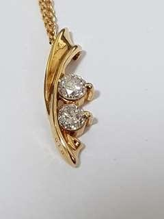 18K Yellow Gold Diamond pendant with chain included