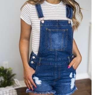 Cotton On Denim Overall Shorts