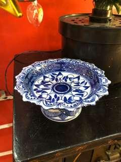 Hand Painted Chinese Blue & White Porcelain Tazza Footed Dish