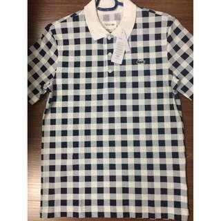 Lacoste Sport LEGIT checkered white blue polo shirt 4 M BNWT