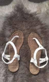 White beach sandals boho