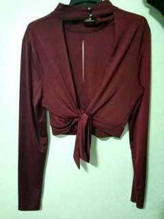 Burgundy backless crop