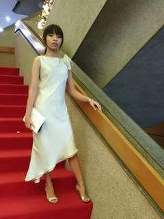 Formal Elegant Asymmetrical Midi Satin Dress