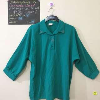 Large - Emerald Green Long Sleeved Top