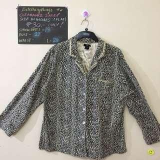 Large - Gray Animal Print Pajama Top