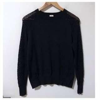 Aritzia Wilfred XS Long Sleeve Laced Black Sweater