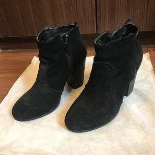 🚚 real suede black Ankle boots 黑色麂皮短踝靴