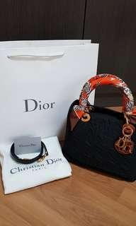Authentic Lady Dior Nylon Cannage 2way Bag Medium