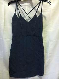 Grey cross strap bodycon dress