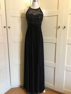 Black Evening Gown/ evening gown/ black maxi dress/ black dress/ prom dress/ dnd dress/ black tie event dress/ black gown/ cut in  sleeves gown