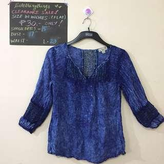 Petite Medium - Tie-Dyed Blue 3/4 Sleeved Top