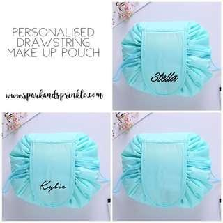 Personalised Drawstring Make Up Pouch