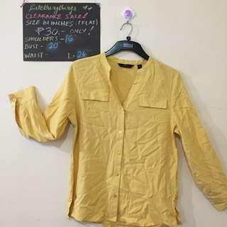 Petite Small - Yellow Long Sleeved Top with Faux Pockets