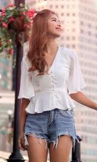 Shoplovet Harmony Button Blouse White