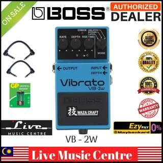Boss VB-2W Waza Craft Vibrato Guitar Effects Pedal with Patch Cable