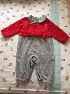 Chickee duck絲絨bb嬰兒夾衣哈衣