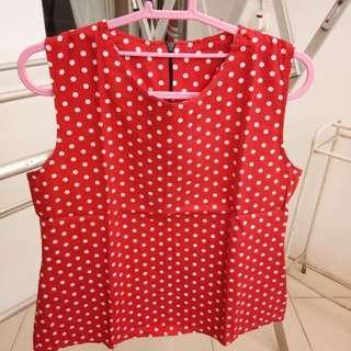 polkadot red blouse