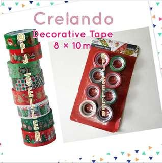 Crelando Decorative Tape 聖誕包裝/裝飾 膠紙卷 8×10M (Red)