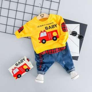 🚚 🌟PM for price🌟 🍀Baby Boy Fire Engine Printed Long Sleeves Top+Denim Pants 2pcs Set🍀