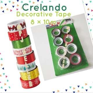 Crelando Decorative Tape 聖誕包裝/裝飾 膠紙卷 8×10M (Green)